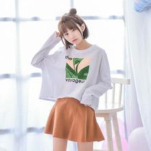 Áo T-shirt nữ cổ tròn dài tay co dãn dáng ngắn thời trang kiểu dáng rộng rãi phong cách học sinh