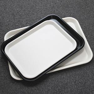 托盘白色长方形面包托盘茶盘快餐盘家用水杯盘子客房盘密胺蛋糕盘