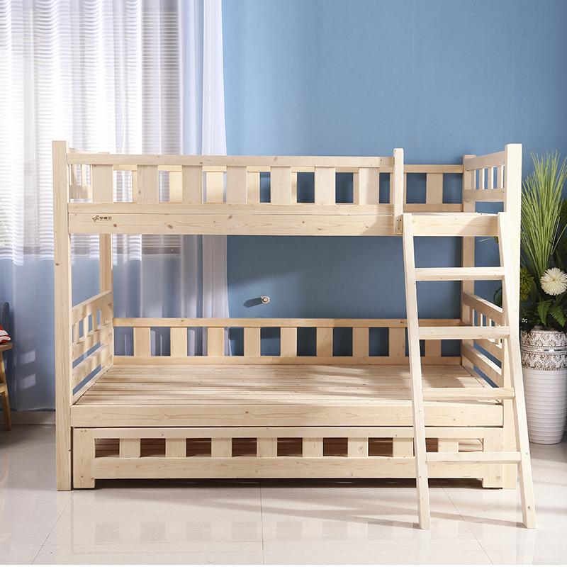 Madera maciza de la litera y madre de tres niños - adultos cama cama se puede dividir 拖床 muebles con la barandilla.