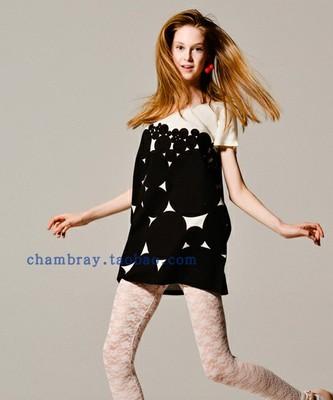 日本原单女式春夏新款白色大圆圈几何图案圆领宽松连衣