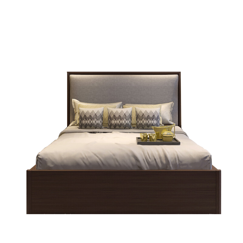Modern simple new Chinese bed, solid wood bed, 1.8 meters double bed, 2 meters, 2.2 meters big bed, master bedroom, wedding bed furniture