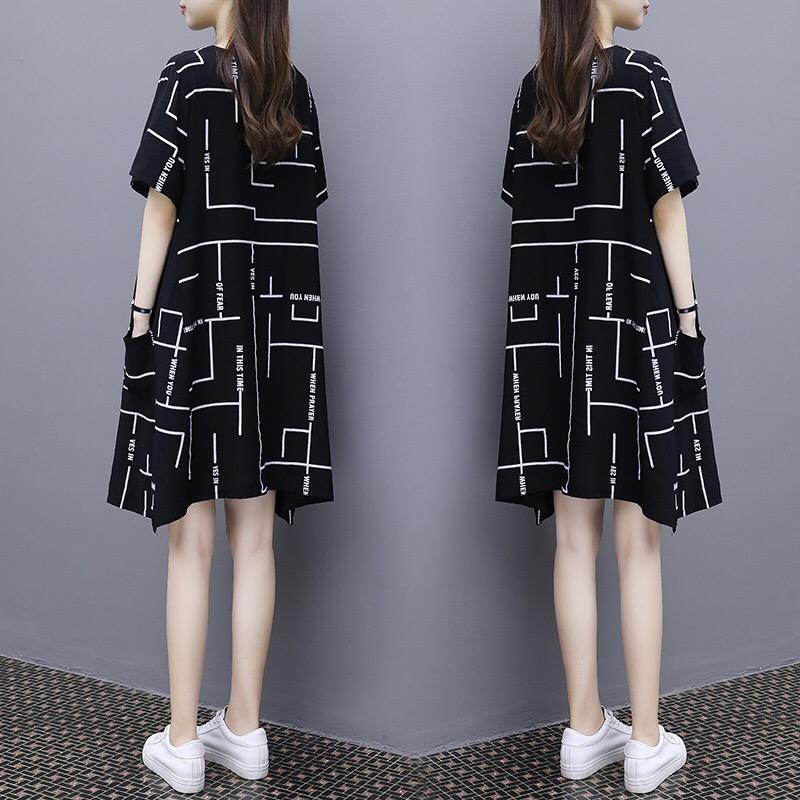 欧洲站连衣裙女夏新款韩版时尚印花大码中长款宽松显瘦a字裙