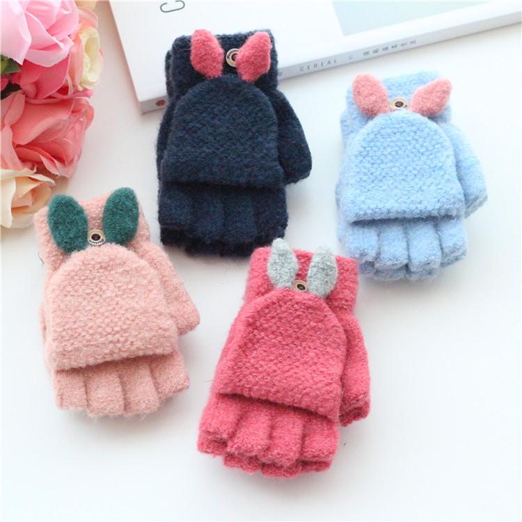 5-12岁中大童冬季儿童翻盖手套男女童半指可爱写字韩版五指手套