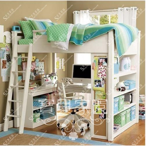 Custom made solid wood furniture, European style, Mediterranean furniture, American children, high and low bed, desk, multi-function