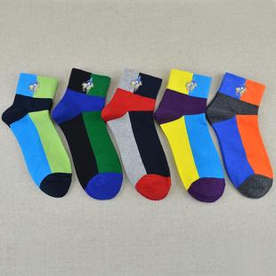 5双皮尔保罗polo袜子男短袜秋冬季纯棉防臭彩色中筒袜短筒运动袜