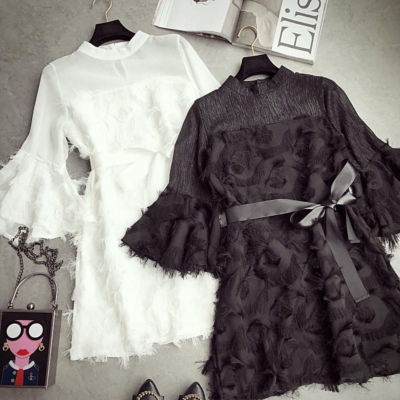2017秋装新款气质小香风喇叭袖立领收腰绑带羽毛流苏显瘦连衣裙女