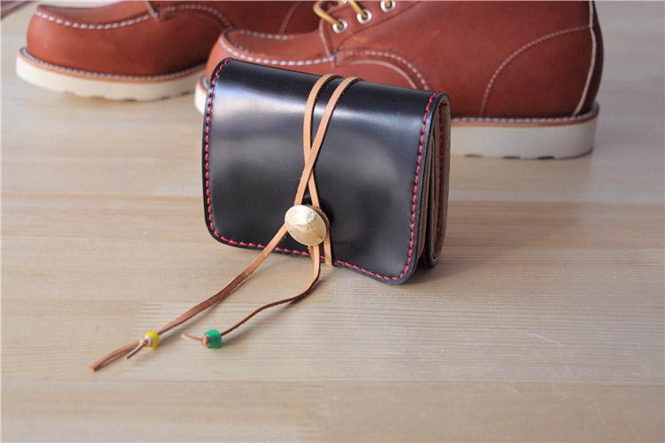 定制纯手工皮具镜面马臀皮枥木胺革多功能卡包名片包收纳包零钱包