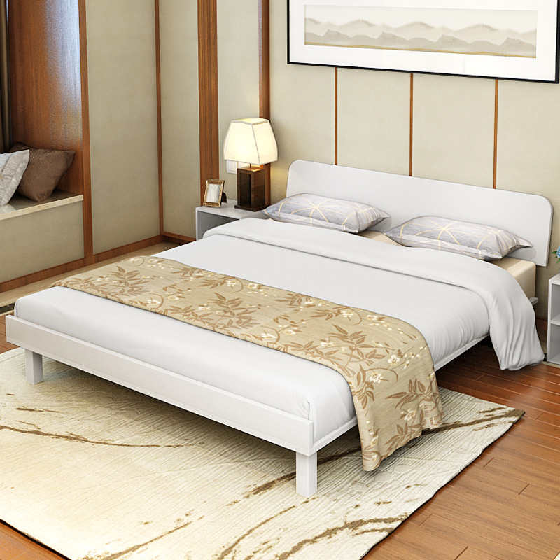 Simple modern plate 1.8 meters economic type bed double bed 1.5m adult tatami bed single bed 1.2