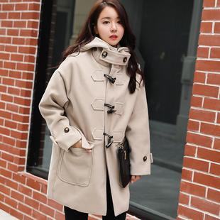 2017秋冬新款毛呢外套女韩版宽松中长款学院风加厚牛角扣呢子大衣