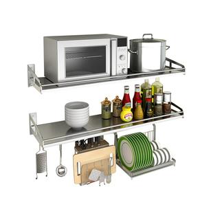 加厚304不锈钢厨房置物架微波炉支架壁挂式墙上烤箱电饭煲1层隔板