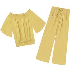 坠感阔腿裤长裤雪纺套装一字肩两件大码夏季女装时尚搭配洋气冰丝