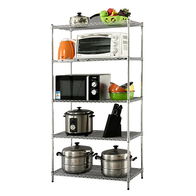 Almacenamiento multifuncional de cocina de acero inoxidable con seis estantes de metal de color personalizado de consola de almacenamiento estante.