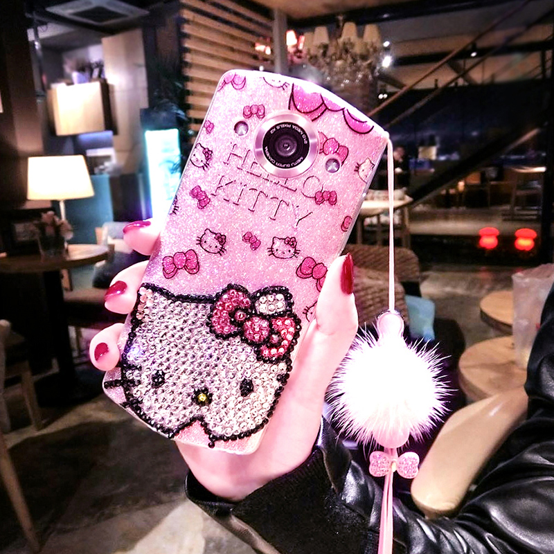 Mito t8s mobile phone shell M8 silicone protective cover m6s fall proof shell M4 Rhinestone Hair ball T8 lanyard female creative