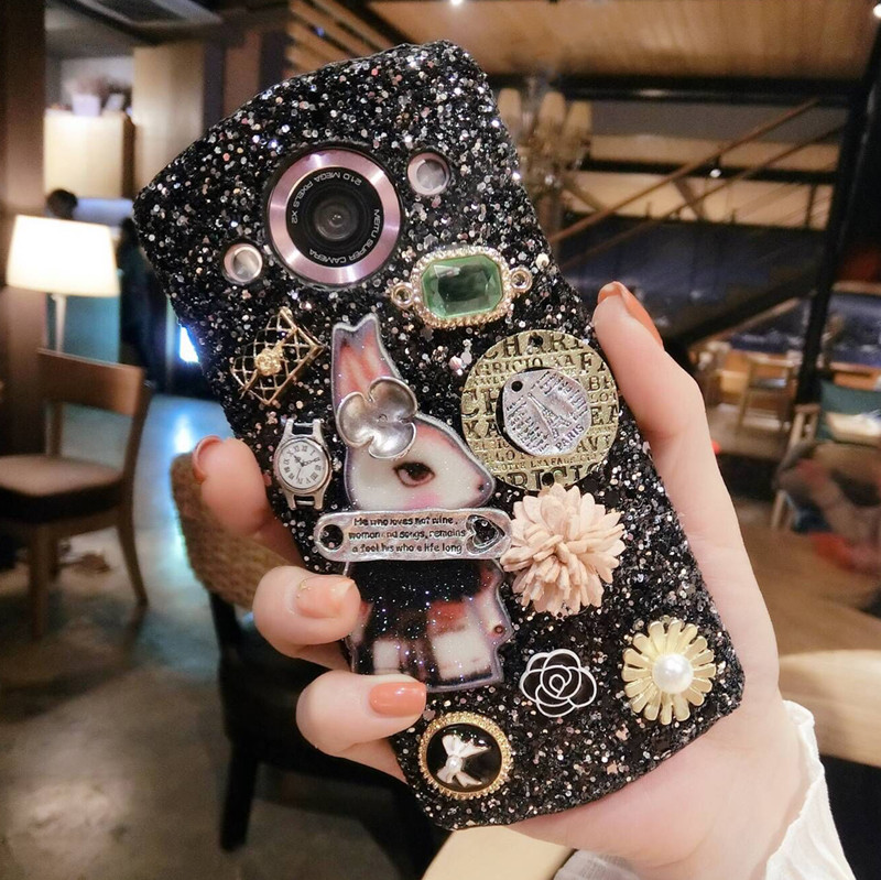 Mito T8 mobile phone shell m6s flashing powder protective sleeve M4S luxury diamond shell V4 creative hard shell M8 frosted women tide