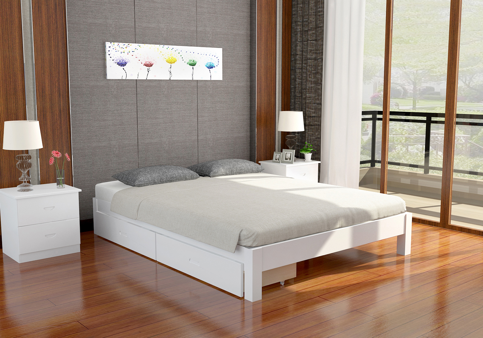 The new package post thickening of pure solid wood solid wood single frame double tatami bed widening 1.5 meters 1.8 meters