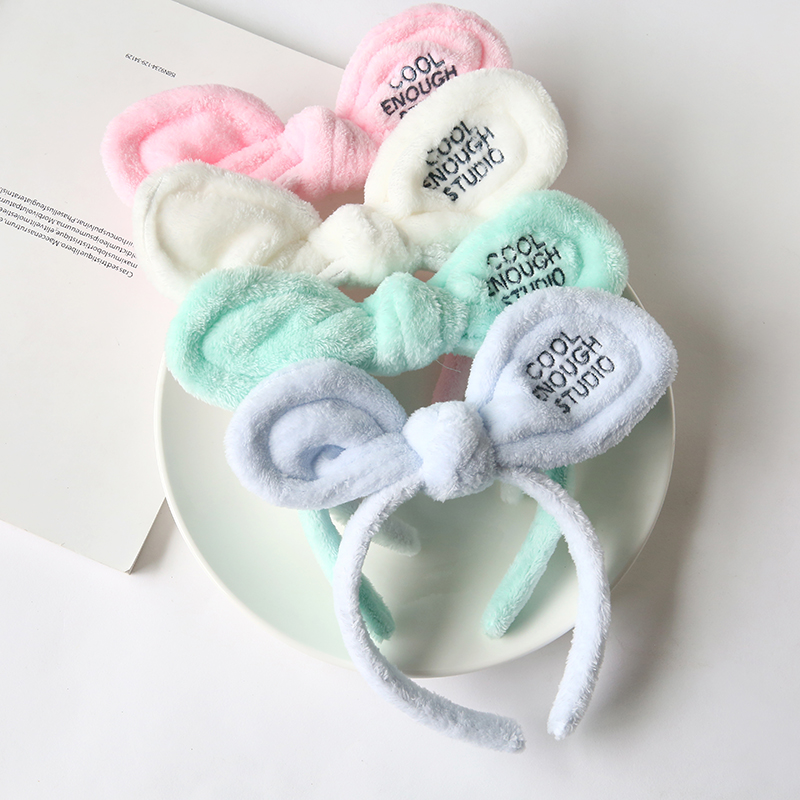 Korean cute rabbit ears wash hair hoop headdress about broad head wash hair band hoop Korean Jane lead face