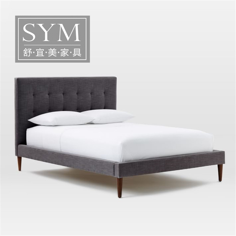 Nordic bedroom modern minimalist washable fabric bed double bed cloth bed large-sized apartment custom wedding bed model