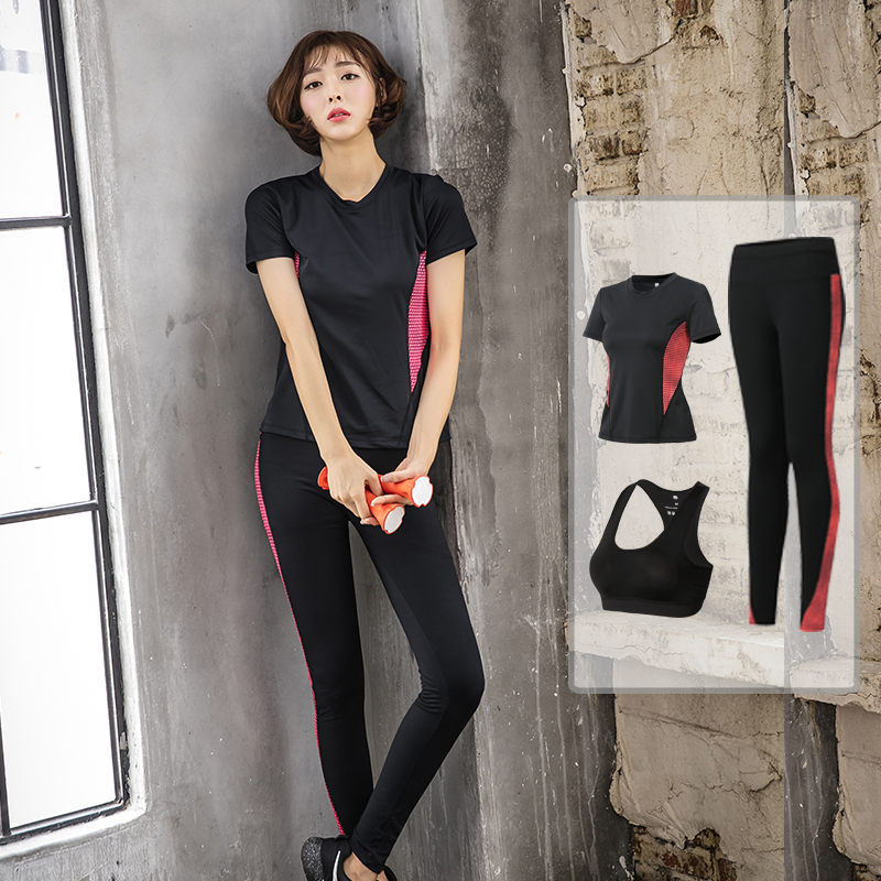 New sports suit, autumn yoga clothing, leisure running, tight professional, thin body, fast dry clothes three sets