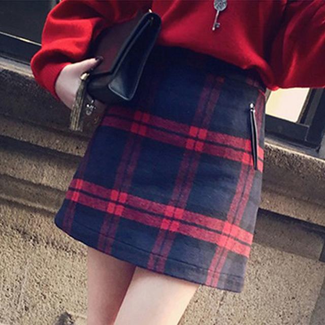 秋鼕新款復古格子呢子裙半身裙 氣質羊毛包臀短裙A字裙毛呢一步裙