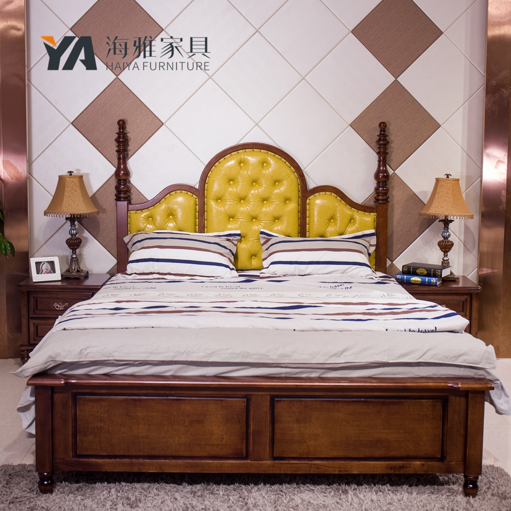 American country style furniture, solid wood bed bed bed bed soft leather European double bed 1.8 meters by mandshurica