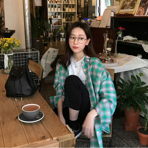 2353# 現貨 韓國 ins極簡主義  文藝范小女孩 綠色格紋襯衫