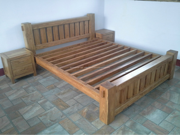 Xu's old elm wood Home Furnishing Chinese all wood furniture, bedroom bed double bed three pieces of old elm