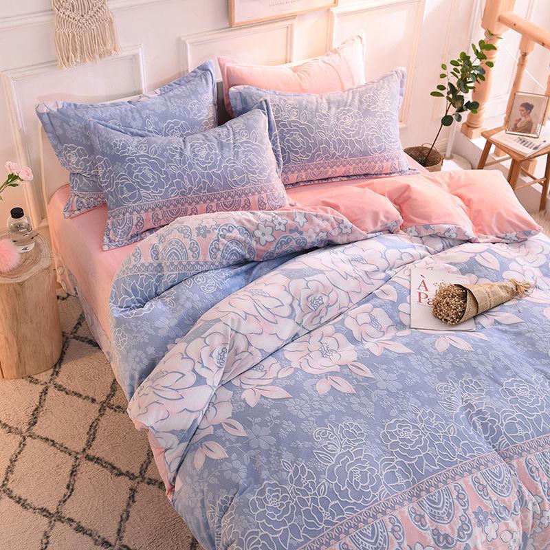 冬季加厚雕花绒四件套双面水晶绒床上用品珊瑚绒保暖法兰绒三件8