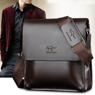 袋鼠真皮单肩包男士斜挎包公文包商务休闲