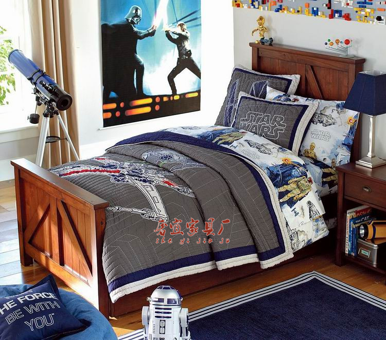 American style all solid wood furniture, children's bed, European style simple, boys and girls single bedroom bed, Retro Old double bed