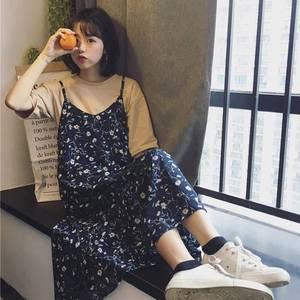 2019夏季新款碎花长裙韩版t恤时尚套装连衣裙雪纺女中长款
