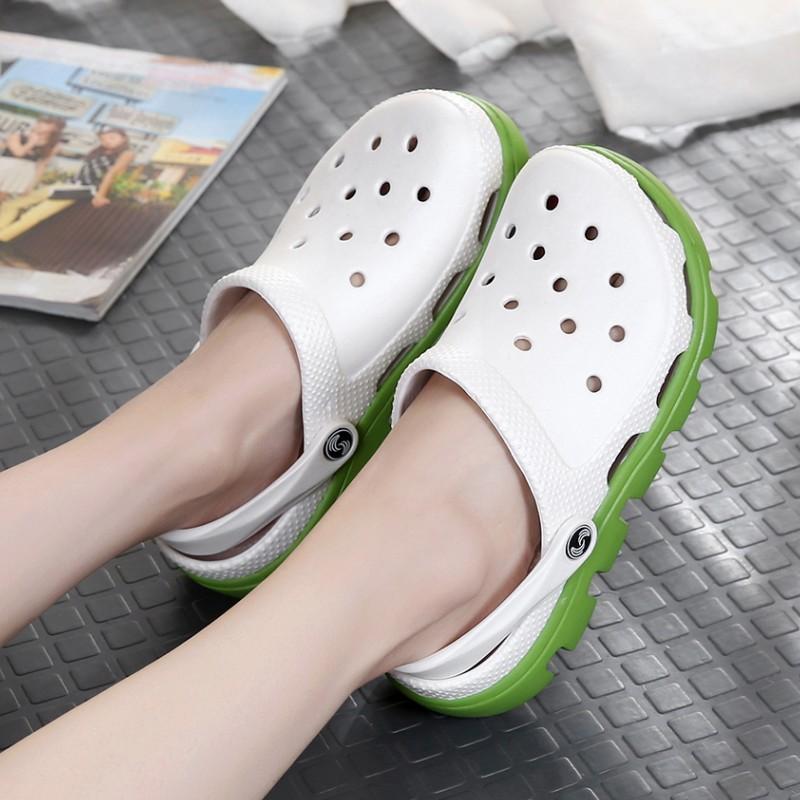 動力迪特防滑洞洞鞋女夏學生情侶沙灘鞋休閑鞋花園鞋厚底包頭拖鞋