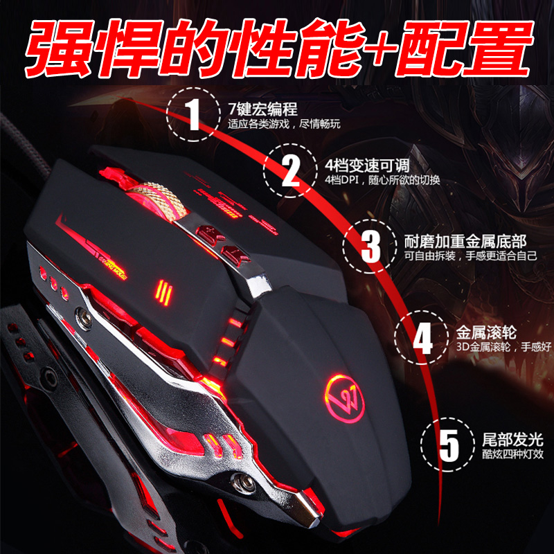 Game multi keys side key aggravating breathing lamp point light technology mechanical backlight wired game mouse