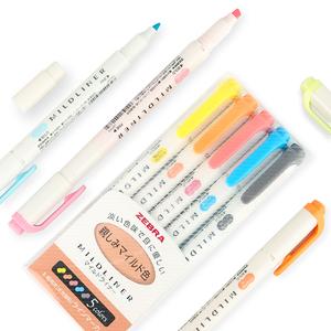 小清新 色彩柔和 ZEBRA斑马荧光笔双头记号淡色标记笔一套学生用