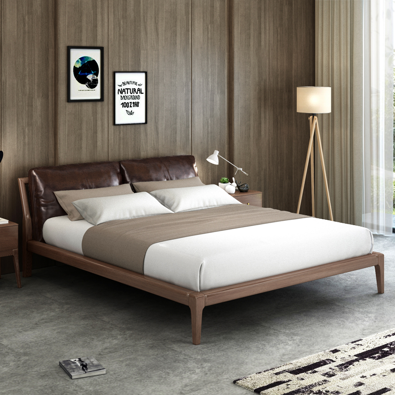 Nordic wood bed 1.51.8 meters double cloth leather soft wax on wooden wooden bed