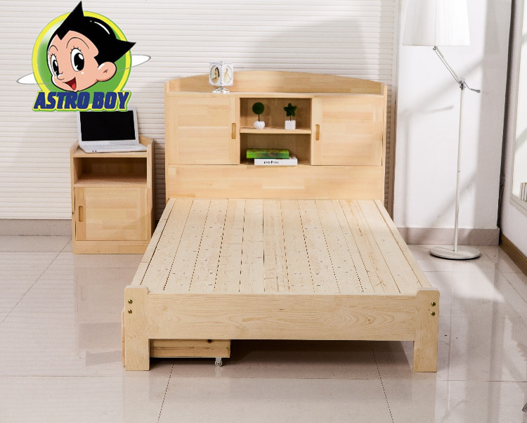 Special solid wood children's storage bed, pine bookshelf bed, 1.2 single 1.8 double bed, double bed for teenagers