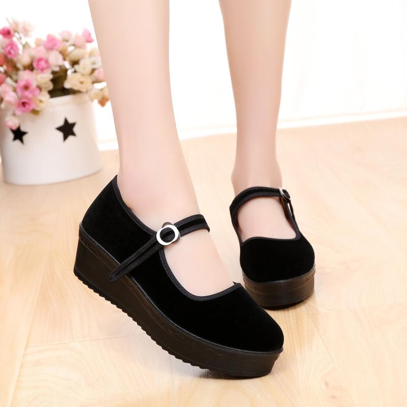 厚底老北京布鞋女鞋中跟防滑單鞋酒店職業女士工作鞋坡跟黑色布鞋