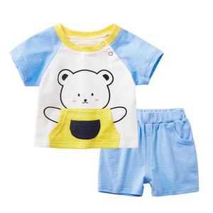 婴儿短袖套装2018夏季0-1岁女纯棉T恤小童短裤夏装男宝宝两件套潮