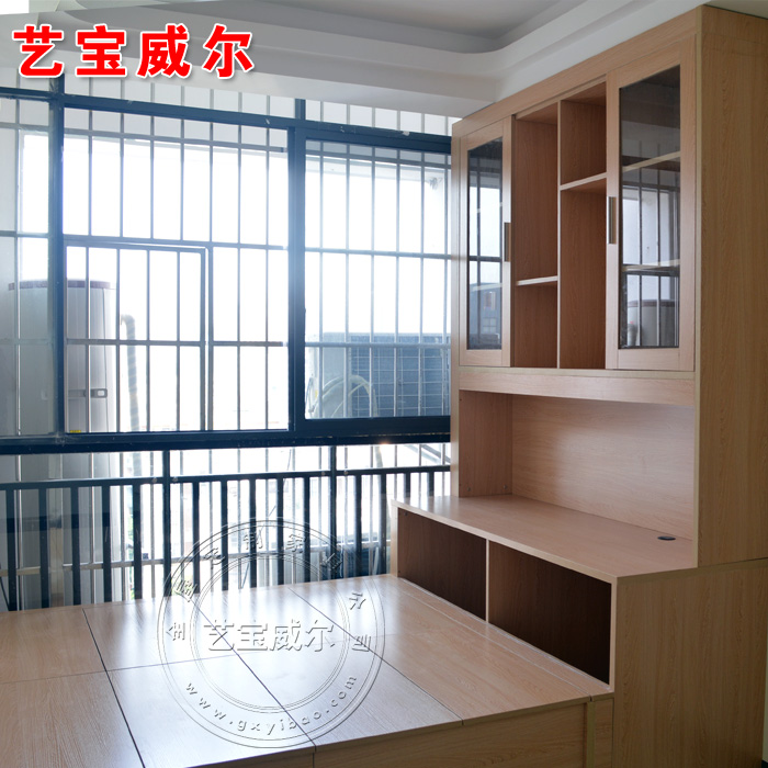 Nanning solid wood furniture custom tatami bed tatami platform customized storage bed platform combined bookcase