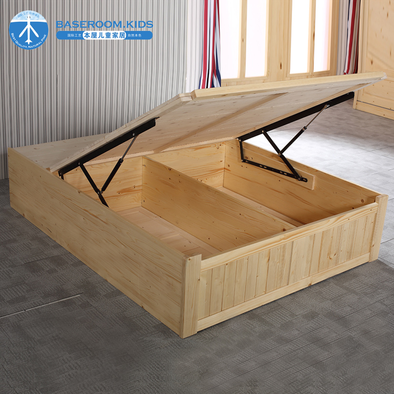Pine double bed, 1.8 meters, 1.5 single bed, high box bed, storage bed, bedroom furniture, solid wood