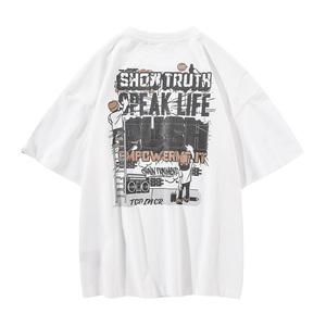 炉品夏季潮男后背字母印花短袖T恤男潮流宽松圆领青少年休闲体恤