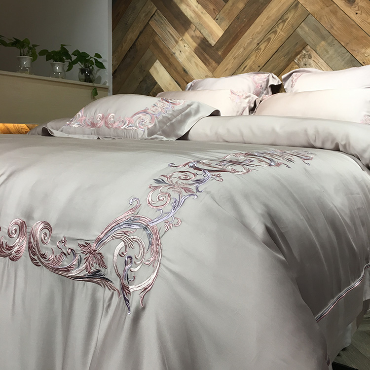 Orphrey 60 double-sided four piece pure Tencel Tencel embroidered bed sheet type fitted in summer