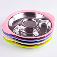 304 stainless steel baby compartment dinner plate, children's tableware, separate bowl, dinner plate, baby dish, three compartment dish