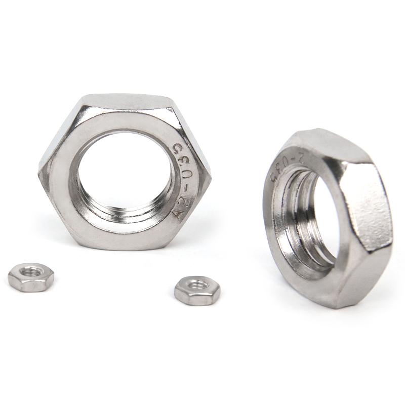 Distância de 25 dentes de aço inoxidável 304 SEM fina e plana hexagon nut porca M10M12M14M16*x1.25mm