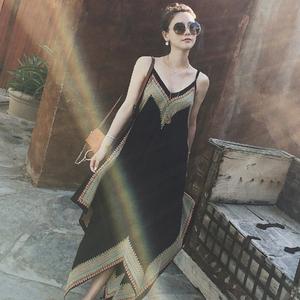 孕妇装夏季时尚雪纺潮妈吊带裙长裙V领无袖孕妇连衣裙中长款显瘦