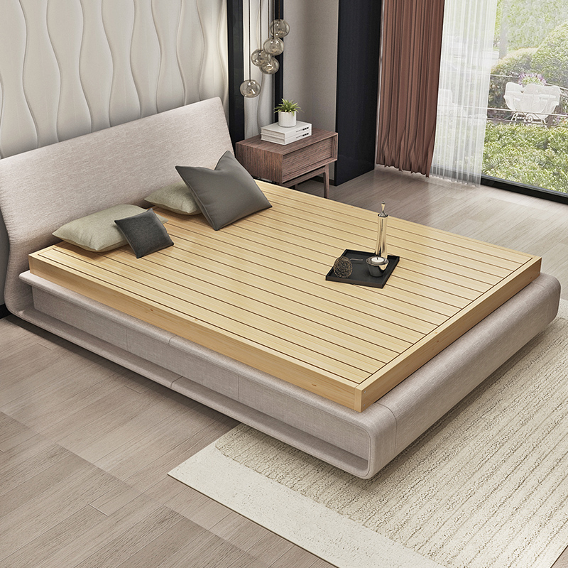 Solid wood bed mattress board hardware shelf 1.5 Mega bed 1.8 meters high hard Simmons tatami simple bed