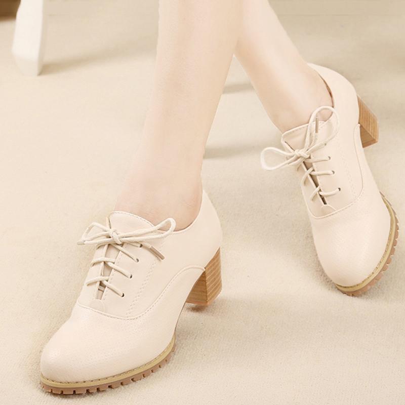 春秋季布洛克英倫女鞋深口粗跟單鞋 中跟繫帶休閑鞋小白鞋女皮鞋