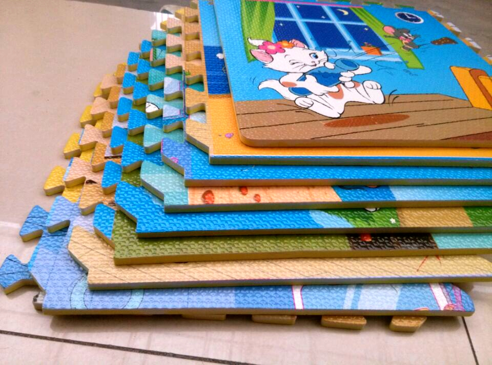 Children bedroom floor puzzle baby crawling mat 40x40 thick foam pad stitching baby tatami