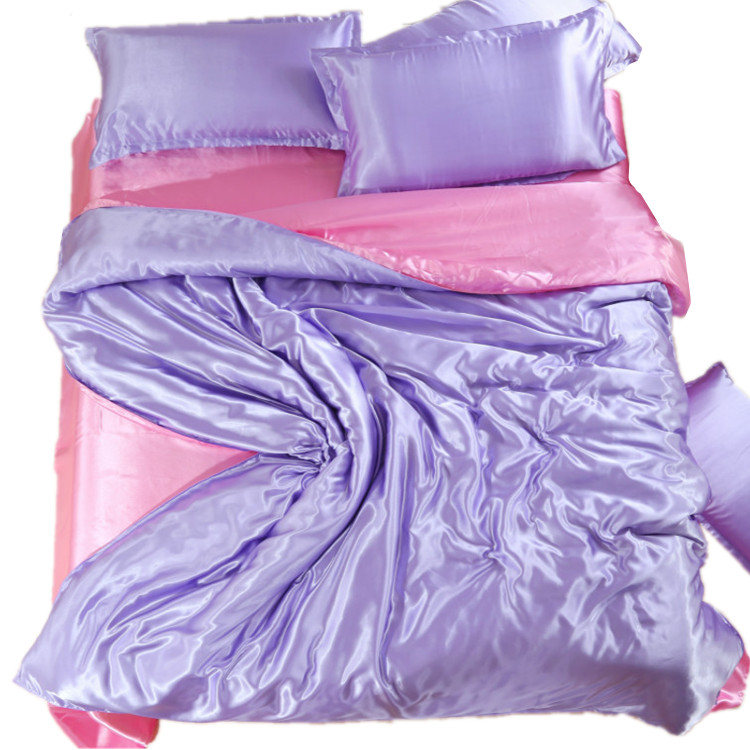 The spring and summer of four sets of textile bedding Tencel 1.8m silk bedspread color satin fitted clearance