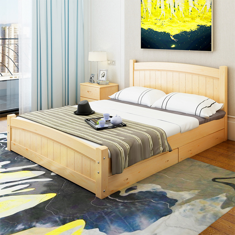 Matsuki Ju simple adult bed, white double bed, children's single bed, 1.2.1.5.1.8 meters special solid wood bed