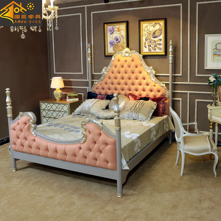 Italian style palace full solid wood bed 1.8 meters double Hand Carved Silver New Classical villa bedroom furniture